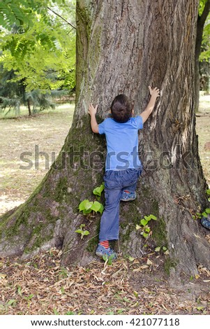 Small child hugging and trying to climb a big tree in a park - stock photo