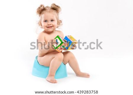 small child on the pot - stock photo