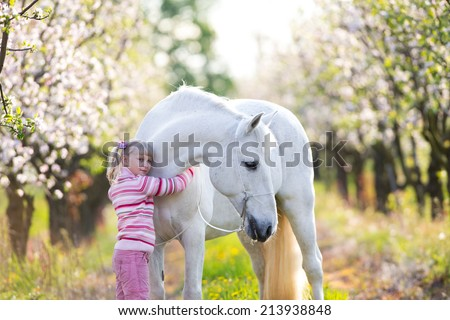 Small child with a white horse in apple orchard at sunset - stock photo