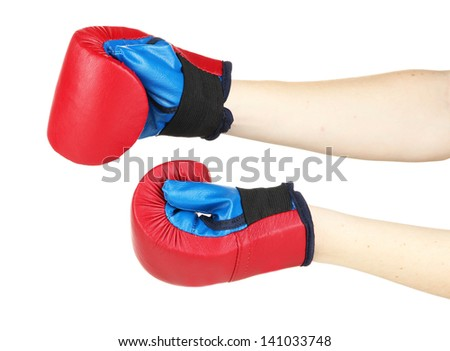 Small children boxing gloves on hands isolated on white