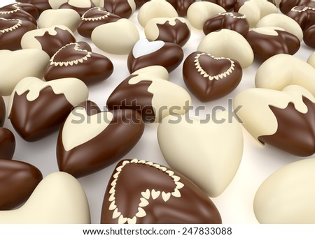 small chocolate valentine  hearts candy on white background