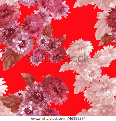 small chrysanthemums watercolor hand painting on red background seamless pattern for   fabrics, paper
