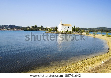 Small church in corfu, greece - stock photo