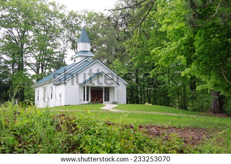 Small church in middle of hocking hills, Ohio