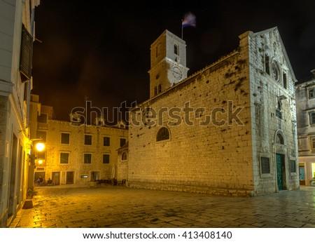 Small church in old city of Sibenik,Croatia - stock photo