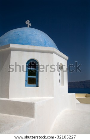 small church in the greek island of santorini