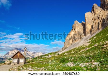 Small church near Tre Cime di Lavaredo, Dolomite Alps, Italy  - stock photo