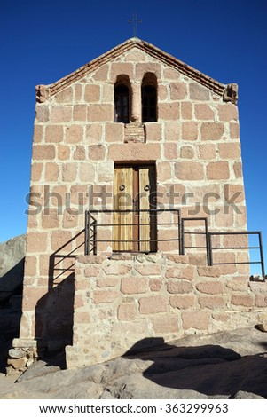 Small church on the top of mount Sinai in Egypt