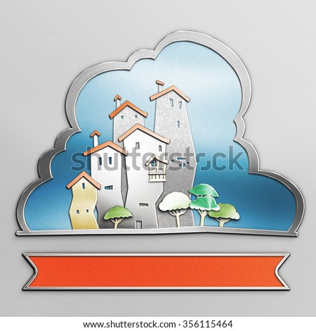 Small city outlined with silver. Illustration of a city at summer day, with buildings, trees and blue sky in the background. Empty space with red ribbon leaves room for text. Urban emblem. - stock photo