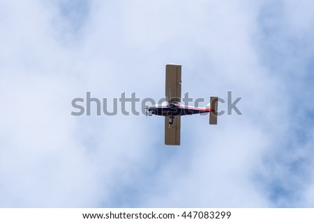 Small Civil Ultralight Cessna Airplane Blue Stock Photo 447083299