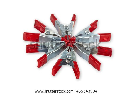 Small clamps isolated on white background - stock photo
