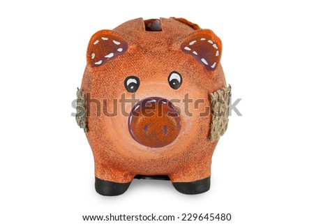 Small clay piggy bank isolated on white background - stock photo