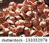 small clay pots on the sun of India - stock photo