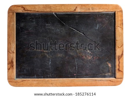 Small cleaned retro kids school slate or blackboard in a rustic worn wooden frame with copy space isolated on white