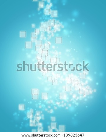Small clear square icons on ice blue background