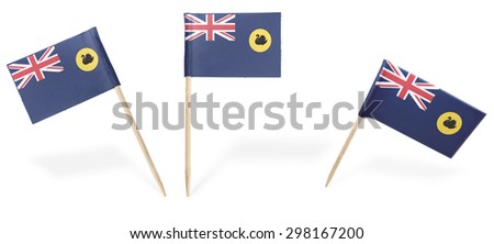 Small cocktail flags of Western Australia in different positions isolated on white.(series) . Also easy to use as a design element :)  - stock photo