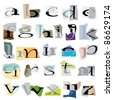 Small collage letters based on ripped paper pieces.:raster version - stock photo