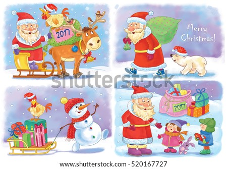 Small collection of Christmas cards. Four Christmas cards with cute Santa, reindeer, white bear, snowman, rooster and kids. Illustration for children. Funny cartoon characters