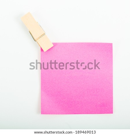 Small color paper note hang on with white background