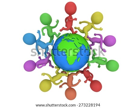 Small colored people running around the world. Travel and international concept. 3d render isolated on white. - stock photo
