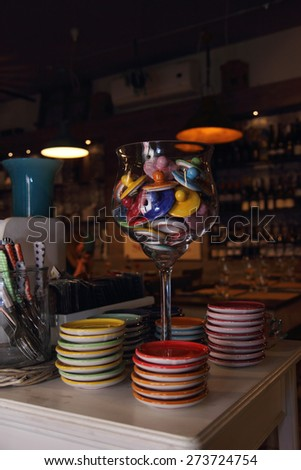 small colorful plates for espresso coffee - stock photo