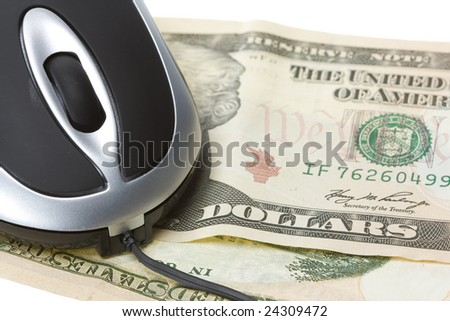 small computer mouse with money concept isolated on withe background