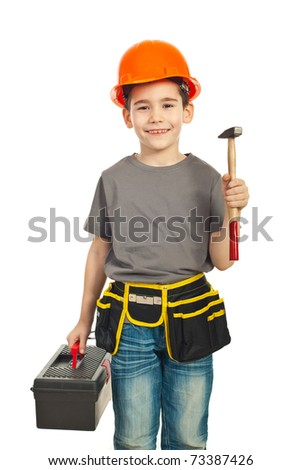 Small constructor kid boy holding hammer and tools container isolated on white background - stock photo