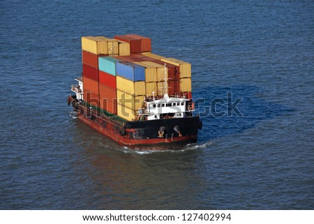 Small container ships - stock photo