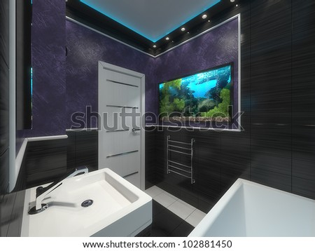 small contemporary bathroom with aquarium - stock photo