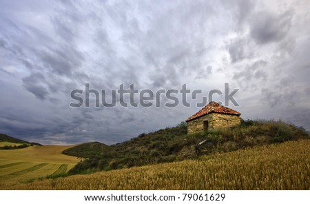 Small cottage in the middle of the field - stock photo