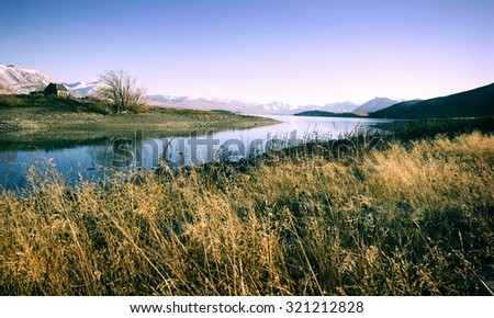 Small Cottage Rural Area View Mountain Lake Concept