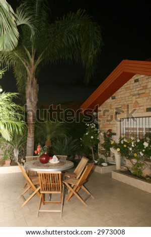 Small court yard of the private house - stock photo