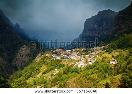 small cozy village Curral das Freiras in Nuns Valley in Madeira, Portugal - stock photo