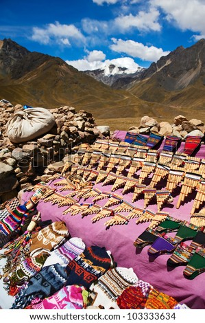 Small crafts market at Abra la Raya in Puno, Peru, 4.338m above - stock photo