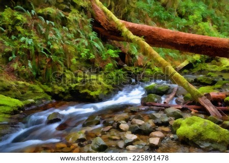 Small creek in rainforest, Vancouver Island, British Columbia. Stylized as painting. - stock photo