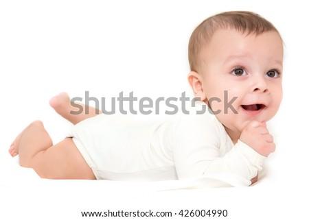 small cute baby boy - stock photo