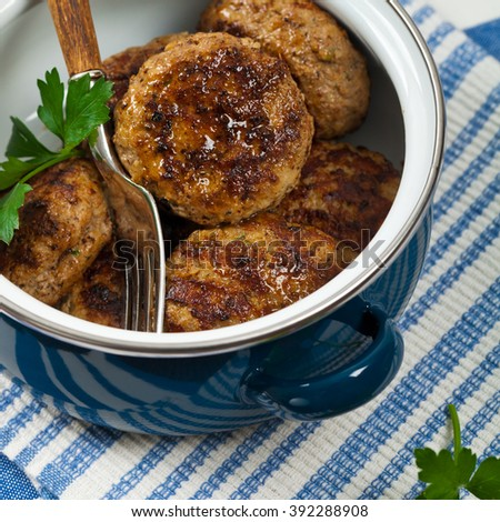 Small Cutlets or Sausage Patties. Selective focus. - stock photo
