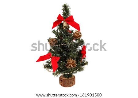 Small Decorated Christmas tree on white background - stock photo