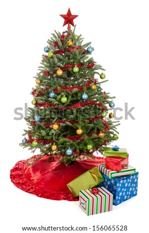 small decorated real christmas tree with presents isolated on a white background - Small Real Christmas Trees