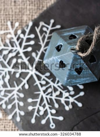 Small decorative bird house and christmas decoration - stock photo