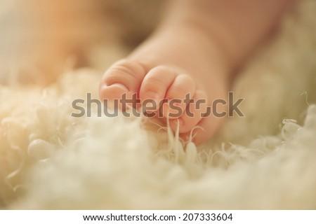 Small delicate little feet of newborn - stock photo