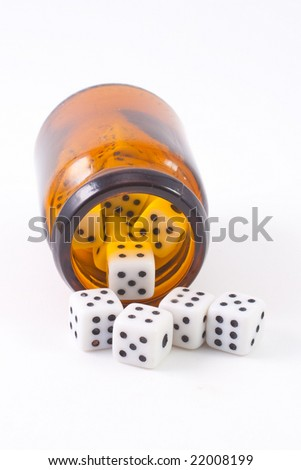 Small dices isolated on white background - stock photo