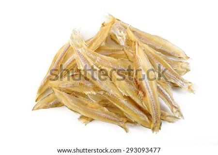 Small dried fish on white background