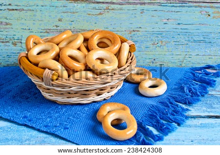 Small dry bagels brown lying in one bowl - stock photo