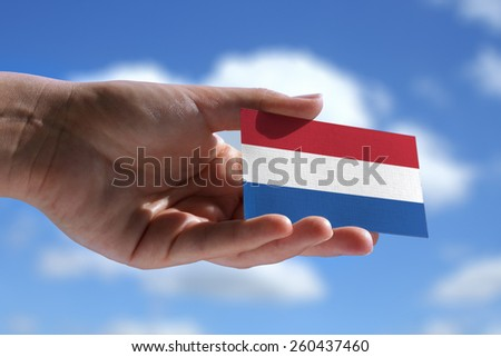 Small Dutch flag against beautiful landscape - stock photo