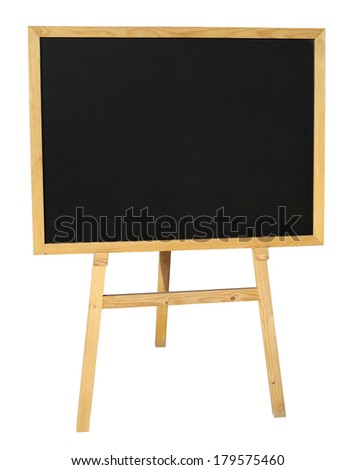 Small empty black wooden blackboard isolated on white with clipping path - stock photo