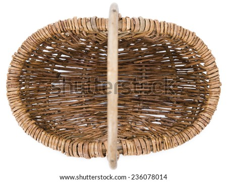 Small emtpy Basket isolated on pure white background - stock photo