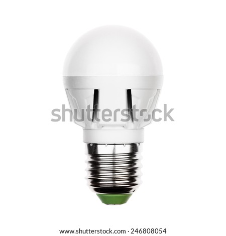 Small energy saving LED light bulb (lamp) with e27 socket isolated on a white - stock photo