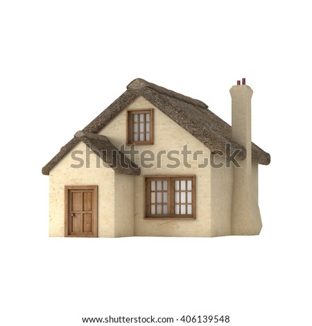 Small English style cottage with a thatched roof, chimney and plastered walls, isolated on white background. 3D rendering.