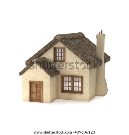 Small English style cottage with a thatched roof. House with chimney and plastered walls. Isolated on white background. 3D rendering.